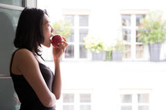Woman eat apple Stock Photography