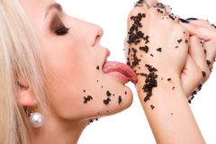 Woman eat black caviar Royalty Free Stock Photography