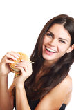 Woman eat burger Royalty Free Stock Photography