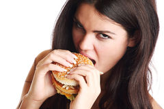 Woman eat burger Stock Photo