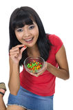 Woman Eat Candy Royalty Free Stock Image