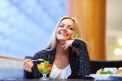 Woman eat desert Royalty Free Stock Photo