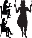 Woman eat and drink silhouette  Stock Photo