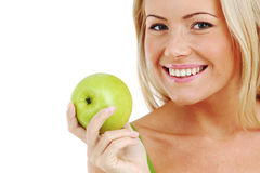 Woman eat green apple Royalty Free Stock Photos