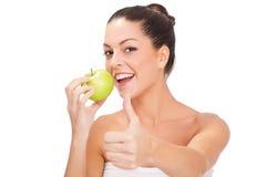 Woman Eat Green Apple Stock Photos