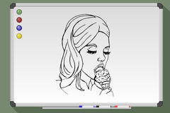 Woman eat ice cream cone stock illustration