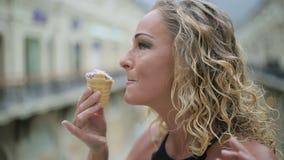 Woman eat ice cream stock video footage