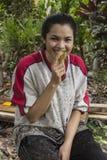Woman eat rambutan Royalty Free Stock Images