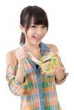 Woman eat salad Royalty Free Stock Photography