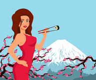 Woman eat sushi. Background with sakura and Fujiyama Stock Photo