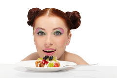 Woman eat tasty cake Stock Photography