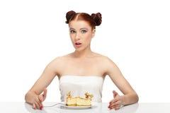 Woman eat tasty cake Stock Photo