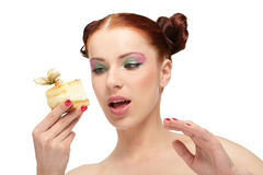 Woman eat tasty cake Royalty Free Stock Photos