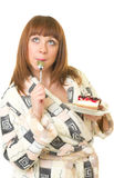 Woman eat tasty cake Royalty Free Stock Photography