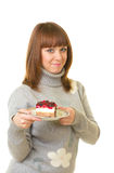 Woman eat tasty cake Royalty Free Stock Image
