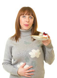 Woman eat tasty cake Stock Photo