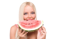 Woman eat watermelon Stock Image