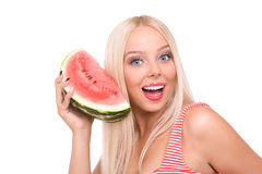 Woman eat watermelon Royalty Free Stock Photography
