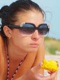 Woman eating. Closeup photo of a woman eating Stock Image