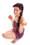 Woman eating a apple Stock Image