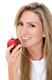 Woman eating an apple Stock Photo