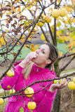 Woman eating an apple Stock Image