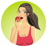 Woman eating an apple. Cartoon Royalty Free Stock Photography