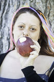 Woman eating apple Stock Photo