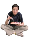 Woman eating Asian food royalty free stock image