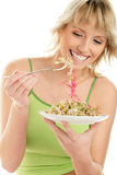 Woman Eating Bean Sprouts Stock Photo