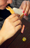 Woman eating bread sandwich. Royalty Free Stock Photo