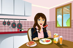 Woman eating breakfast royalty free illustration