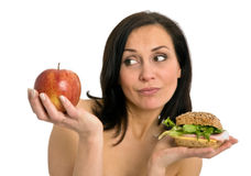 Woman Eating Burger Royalty Free Stock Photography