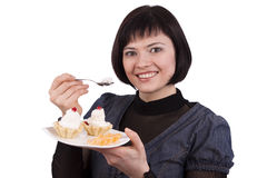 Woman Eating cake Stock Photo