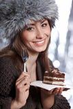 Woman  eating cake Stock Photos