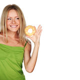Woman eating a cake Royalty Free Stock Image