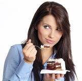 Woman eating the cake. Stock Photo