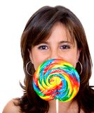 Woman eating candy Royalty Free Stock Images