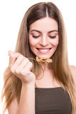 Woman eating cereals Stock Photography
