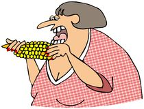 Woman eating corn on the cob. This illustration depicts a chubby woman eating corn on the cob Stock Photos
