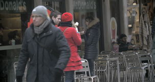 Woman Eating Fast Food Outdoors stock video