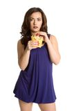 Woman Eating French Fries Stock Photography
