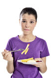 Woman eating french fries. Stock Photo