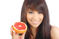 Woman eating fruite Stock Photo