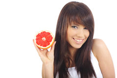 Woman eating fruite Stock Photography