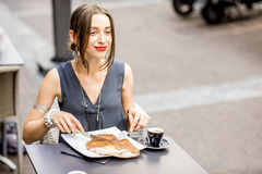 Woman eating galette meal at the restaurant in France Royalty Free Stock Photos