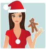 Woman eating a gingerbread man. Young xmas woman eating a gingerbread man vector illustration