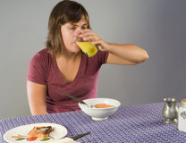 Woman eating gluten-free breakfast Stock Photography