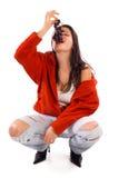 Woman Eating Grapes Stock Image