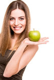 Woman eating green apple Stock Photo